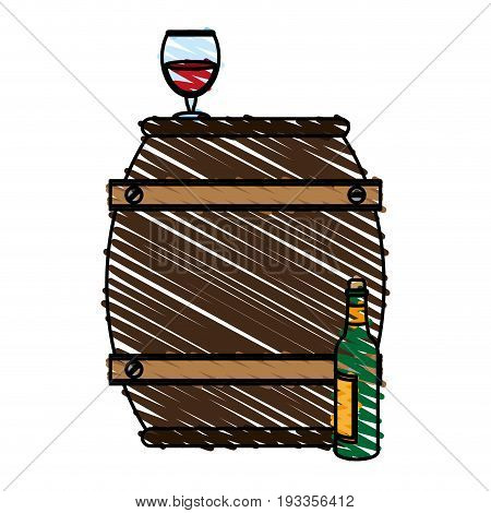 Barrel beverage dispenser doodle vector illustration design graphic