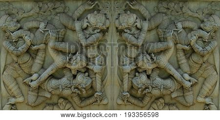 Ancient stucco in public temple, Thailand or ancient stucco background in public temple,Thailand