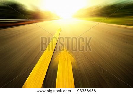 Abstract road With Painted Yellow Line, future forward fast.