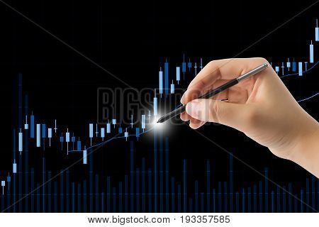 Stock market candle graph analysis on the screen.
