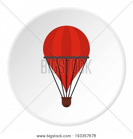 Red industrial electric fan heater icon in flat circle isolated on white vector illustration for web