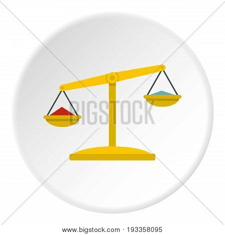 Chemical laboratory flask icon in flat circle isolated on white vector illustration for web