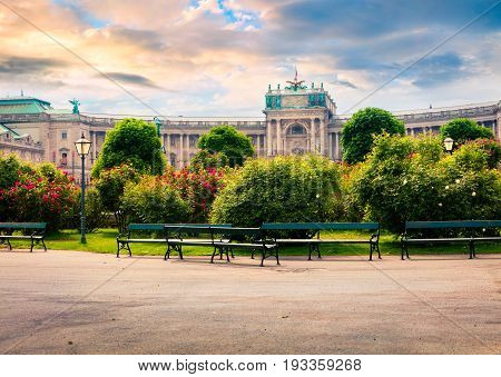Splendid Morning View Of  Volksgarten With Hofburg Imperial Palace