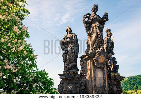 Sculpture Of St.margarita And St. Elisabeth On The Charles Bridge In Prague
