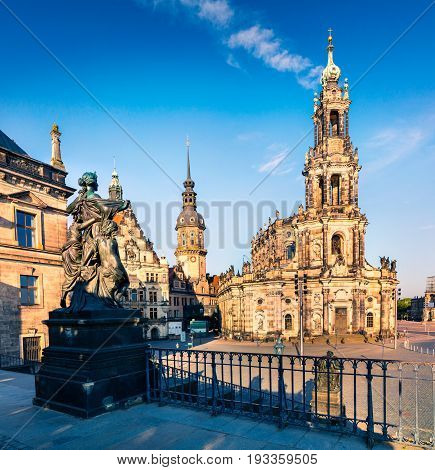 Morning scene in histoirical center of the Dresden Old Town. Cityscape of capital and royal residence for the Electors and Kings of Saxony Germany Europe. Artistic style post processed photo.