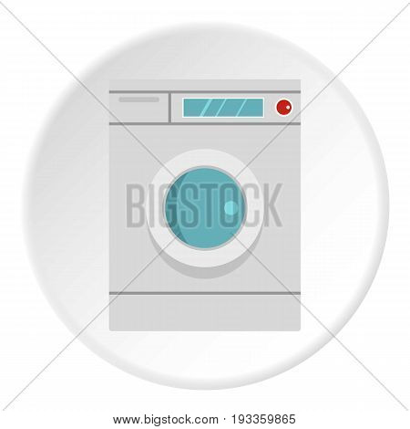 Washing machine icon in flat circle isolated on white background vector illustration for web