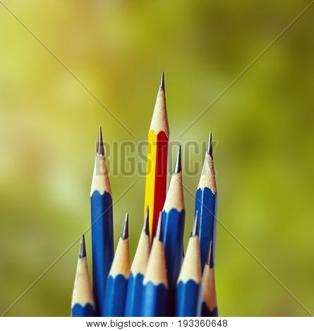 red pencil standing out from the row of blue pencils.