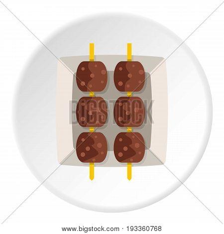 Meat shashlik icon in flat circle isolated on white background vector illustration for web