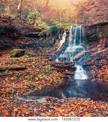Sunny Autumn View In The Forest With Pure Water Waterfall