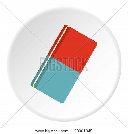Eraser icon in flat circle isolated on white background vector illustration for web