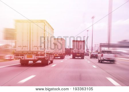 Truck transports on country highway. dividing, transportation,