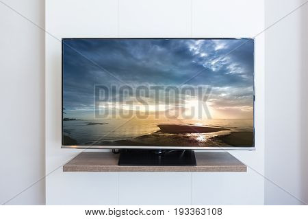 TV television Sea scape on screen white wall background. with clipping path
