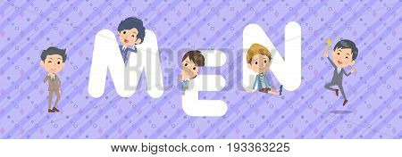 men character illustration font title Design Title