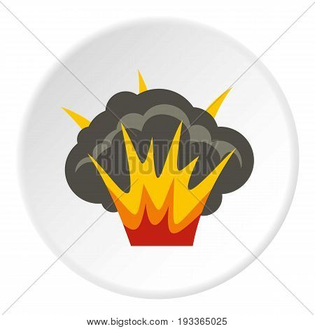 Projectile explosion icon in flat circle isolated on white background vector illustration for web