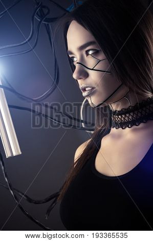 beautiful profile face robot girl in style cyberpunk with wires