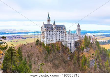 Neuschwanstein Castle in Germany located in Fussen, Bavaria