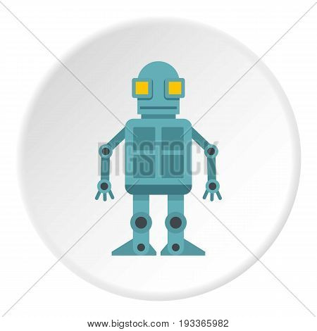 Android robot icon in flat circle isolated on white background vector illustration for web