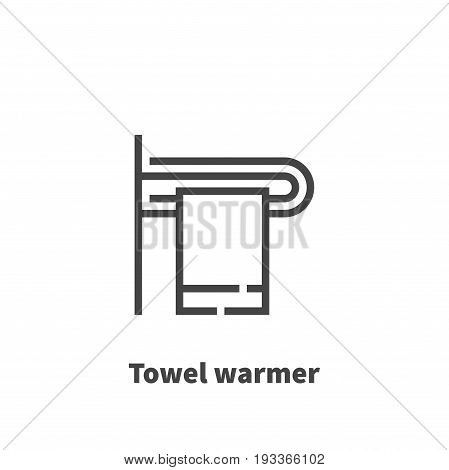 Towel warmer icon vector symbol in line style isolated on white background. Editable stroke 48x48 pixel perfect.