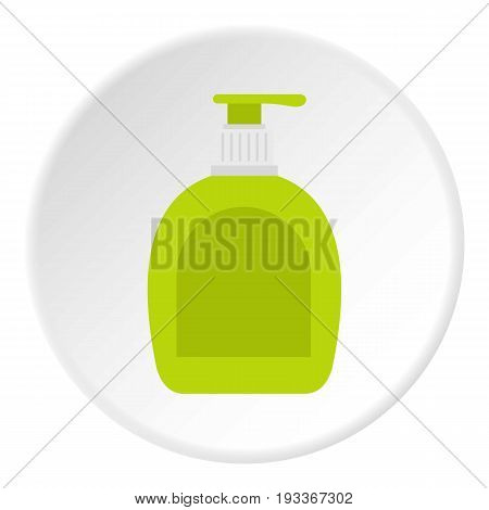 Green bottle with liquid soap icon in flat circle isolated on white background vector illustration for web
