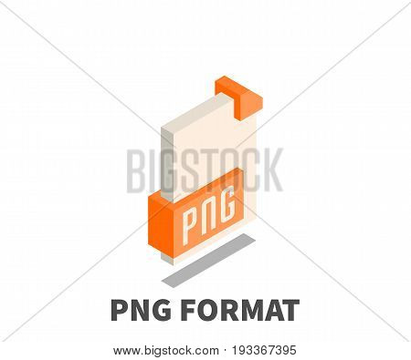 Image file format PNG icon vector symbol in isometric 3D style isolated on white background.