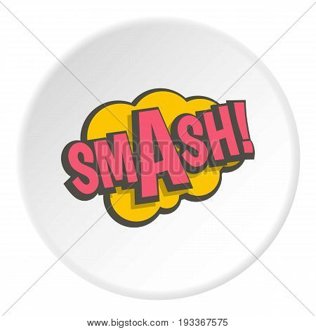 Smash, comic text sound effect icon in flat circle isolated on white background vector illustration for web