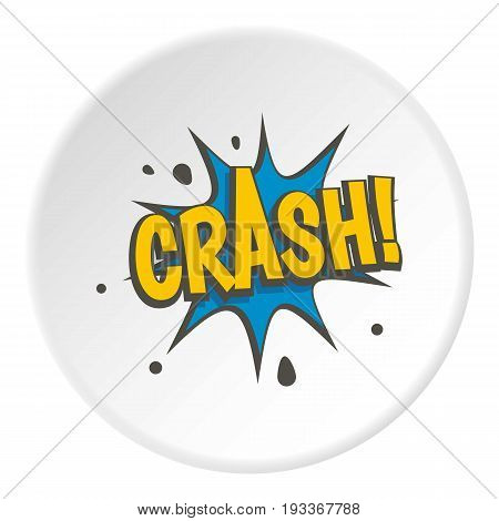 Crash, explosion speech bubble icon in flat circle isolated on white background vector illustration for web