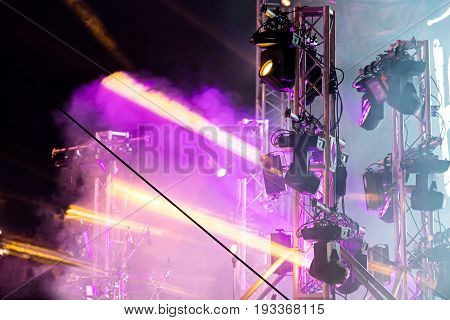 Stage With Spot Lights. Colorful Stage Light Beams And Smoke.