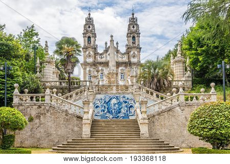Azulejo decorated stairway to the Sanctuary of Our Lady of Remedios in Lamego - Portugal