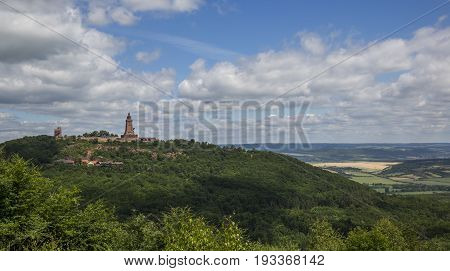 View from afar on Kyffhaeuser monument in Germany