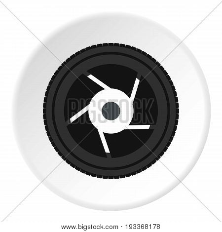 Objective icon in flat circle isolated on white background vector illustration for web