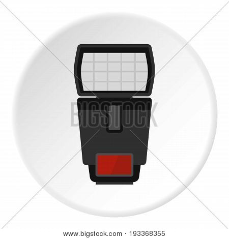 Flash icon in flat circle isolated on white background vector illustration for web
