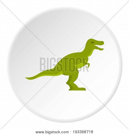 Green theropod dinosaur icon in flat circle isolated on white background vector illustration for web