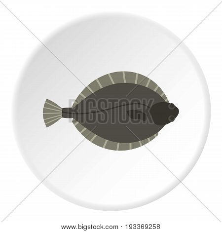 Flounder fish icon in flat circle isolated on white background vector illustration for web