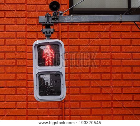 Traffic Lights For Pedestrian Showing The Red