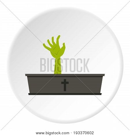 Green zombie hand coming out of his coffin icon in flat circle isolated on white background vector illustration for web