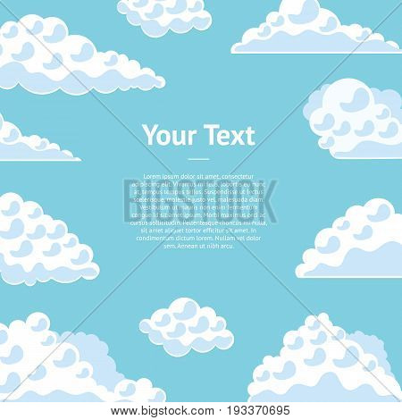 Cartoon Fluffy Clouds on The Blue Sky Banner Card Flat Design Style. Vector illustration