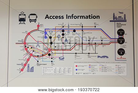 Information Route Map At Jr Station In Tokyo, Japan.
