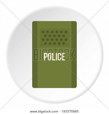 Green police riot shield icon in flat circle isolated on white background vector illustration for web
