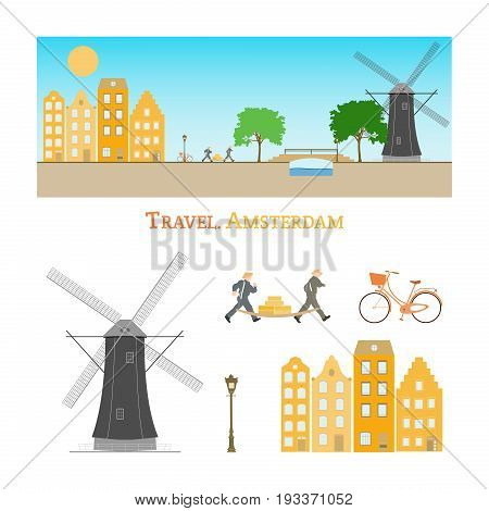Travel Amsterdam. Dutch city landscape with houses, a windmill, running people, cheese and a canal.