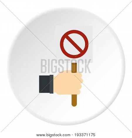 Hand holding stop sign icon in flat circle isolated on white background vector illustration for web