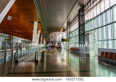 Doha, Qatar - June 2017 : Doha Hamad International Airport, Qatar. Hamad International Airport is the international airport of Doha the capital city of Qatar and one of the major airports in Middle East.