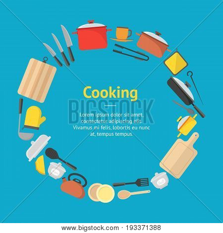Cartoon Cookware Banner Card Circle on a Blue Kitchen Utensils for Home and Restaurant Flat Design Style. Vector illustration