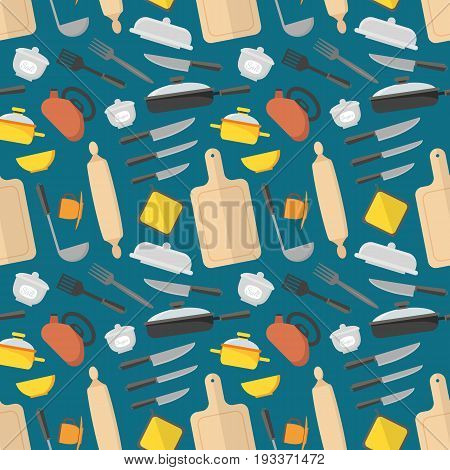Cartoon Cookware Background Pattern on a Blue Kitchen Utensils for Home and Restaurant Flat Design Style. Vector illustration