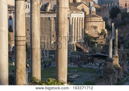Views of Roman Forum, Rome, Italy, with the Temple of Saturn and the Temple of Antoninus and Faustina