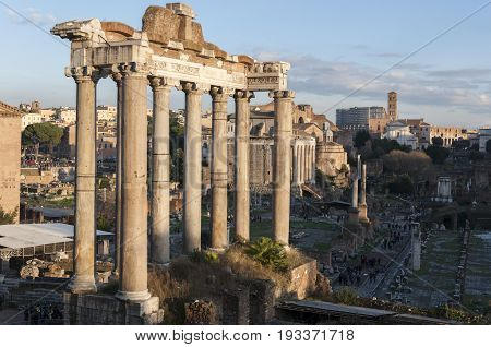 Temple of Saturn, in the Roman Forum, Rome, Italy