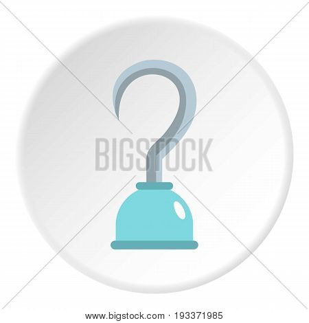 Hook icon in flat circle isolated on white background vector illustration for web