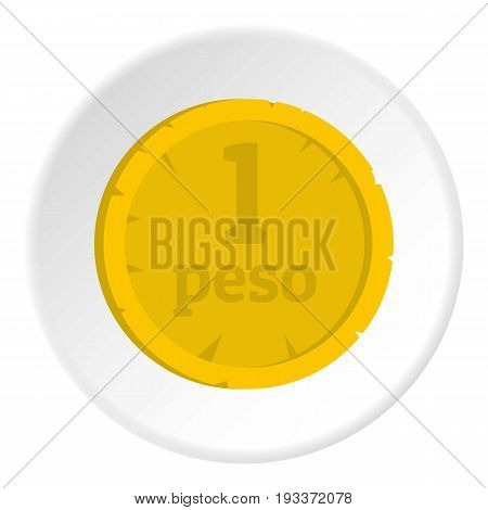 Peso icon in flat circle isolated on white background vector illustration for web