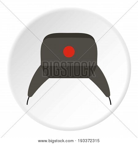 Earflap hat icon in flat circle isolated on white background vector illustration for web