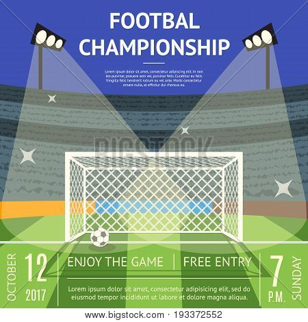 Cartoon Football Championship Soccer Field Flat Design Style Banner Card. Vector illustration