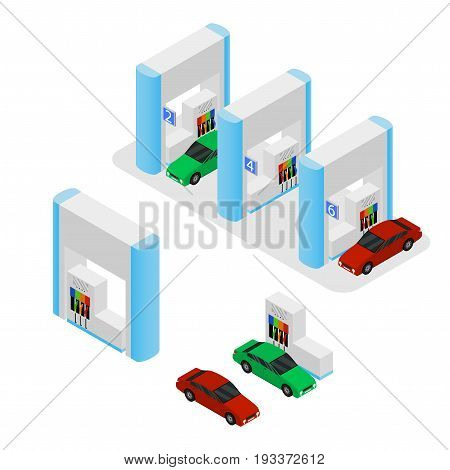 Gas Station Building and Cars Isometric View Element Part Set of Design Urban Landscape. Vector illustration